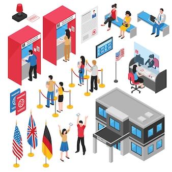 Isometrische botschaft visa center icon set