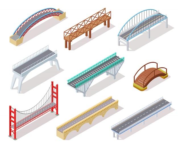 Isometrische brücke. betonbrücken zugbrücke flussbogen, die stadtstraßeninfografiken überbrückte, isolierte 3d-elemente