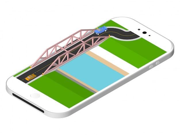Isometrische brücke mit einer straße über dem fluss, der auf dem smartphoneschirm steht. vektor-illustration isoliert