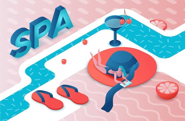 Isometrische buchstaben der badekurortparty 3d, sommer