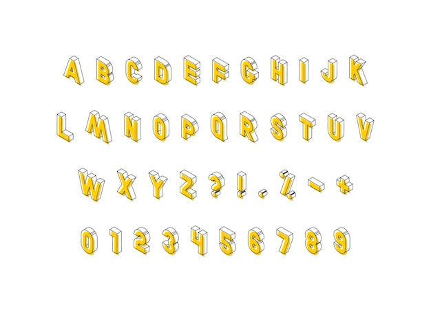 Isometrische buchstaben mit gelben elementen auf weißem hintergrund