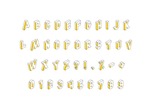 Isometrische buchstaben, zahlen und zeichen mit gelben elementen auf weiß