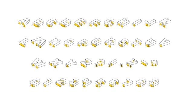 Isometrische buchstaben, zahlen und zeichen mit gelben elementen auf weißem hintergrund. trendiges vintage alphabet