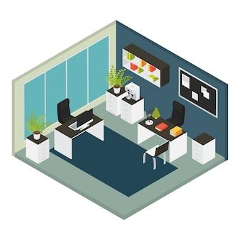 Isometrische büroarbeitsplatzzusammensetzung mit raum mit den wänden mit möbeln und reparaturen im büro