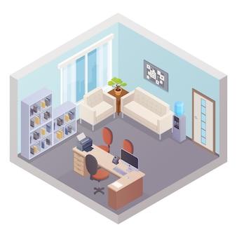 Isometrische büroeinrichtung mit chef-arbeitsplatzregalen für dokumente, kühler und zone für besucher