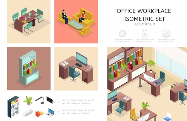 Isometrische büroinnenraumzusammensetzung mit geschäftsarbeitsplatz-bücherregalmöbeln, die kollegen sprechen computer laptop pflanzen lampe conditioner dateiordner