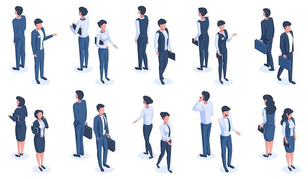 Isometrische büroleute. männliche und weibliche 3d-business-charaktere, büroangestellte, die business-anzüge tragen, vektorgrafiken. business isometrische menschen männlich und weiblich isometrisch, arbeiter trägt weiß Premium Vektoren