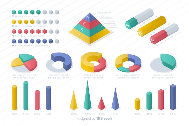 Isometrische bunte statistik-schablonensammlung