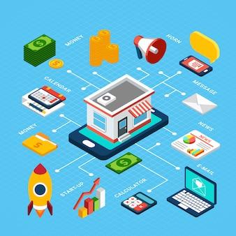 Isometrische bunte zusammensetzung mit verschiedenen werkzeugen für digitales marketing auf blauem 3d
