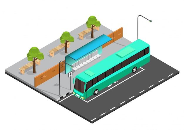 Isometrische bushaltestelle abbildung