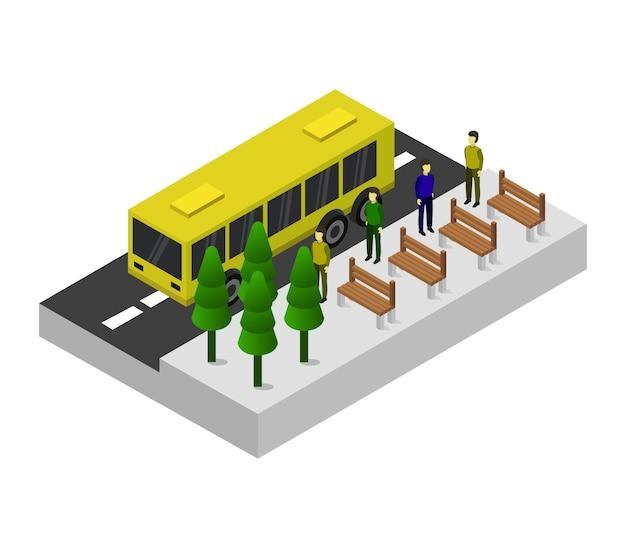 Isometrische bushaltestelle
