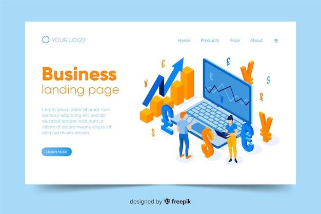 Isometrische business-landing-page-vorlage
