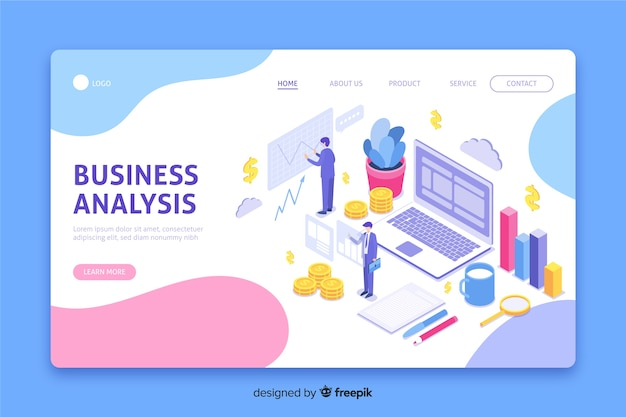 Isometrische business-landing-page