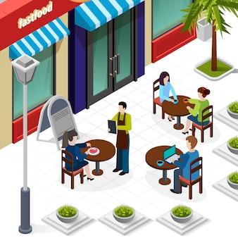 Isometrische business-lunch-leute-zusammensetzung