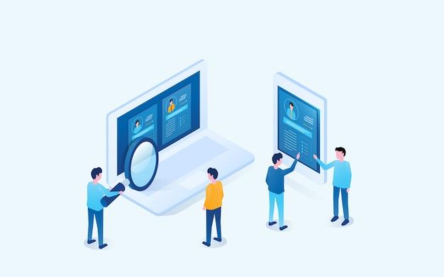 Isometrische business-team-konzept