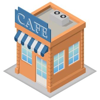 Isometrische cafégebäude