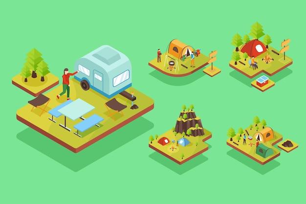 Isometrische campingszene eingestellt