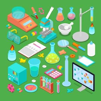Isometrische chemische forschungselemente mit atom, waage, toxischer chemie und mikroskop. illustration