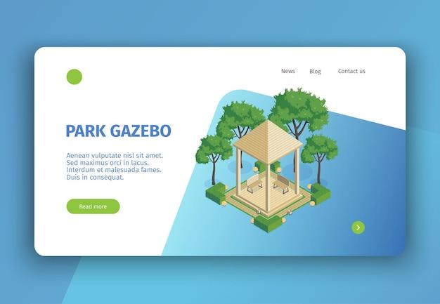 Isometrische city park konzept banner website seite mit anklickbaren links schaltflächen bearbeitbaren text und bilder