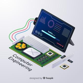 Isometrische computer engineering hintergrund