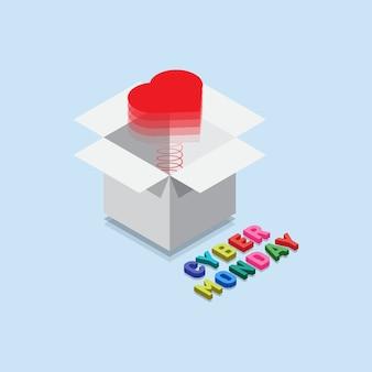 Isometrische cyber-montag-geschenkbox mit überraschungsherzen für geliebte mit 3d mehrfarbenlettchen