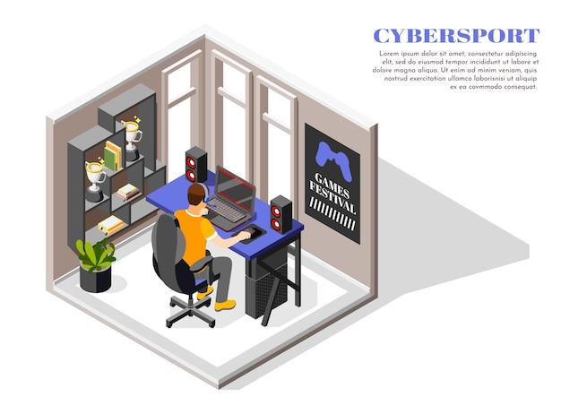 Isometrische cybersport-illustration