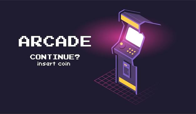 Isometrische darstellung der arcade-spielmaschine.