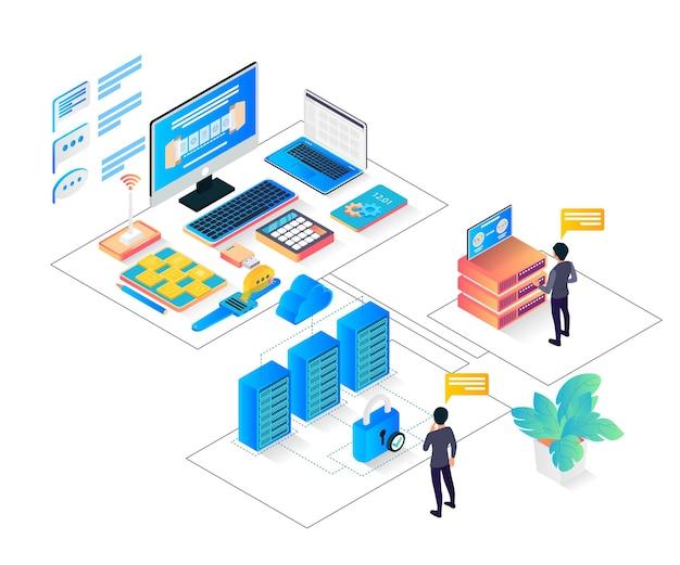 Isometrische darstellung der cloud-datenspeicherung mit charakteren und großen servern