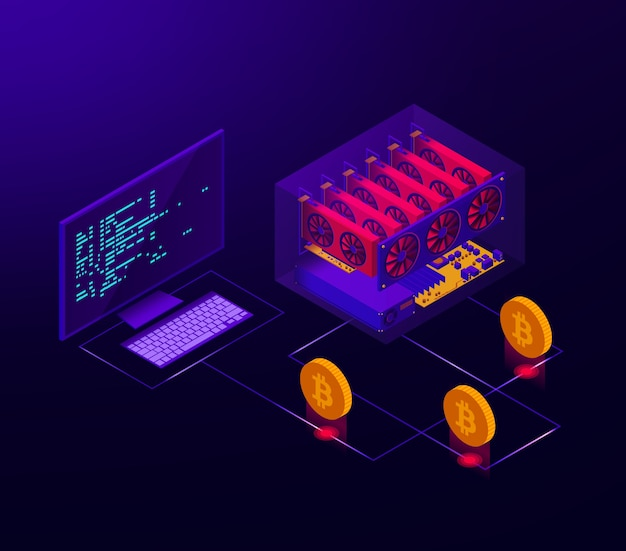 Isometrische darstellung der funktionierenden kryptowährungsfarm für bitcoin.