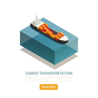 Isometrische darstellung der logistischen lieferung des frachttransports mit schiff, das mit frachtcontainern und text beladen wird