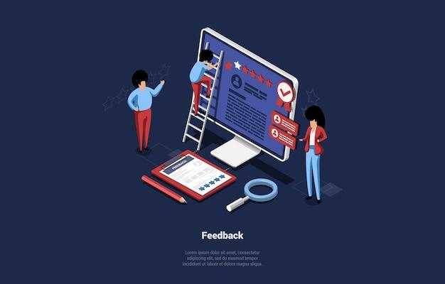 Isometrische darstellung der online-umfrage oder des kundenfeedback-konzepts