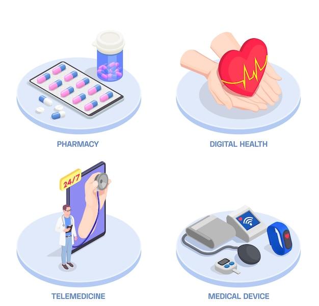 Isometrische darstellung der telemedizin und der digitalen gesundheit