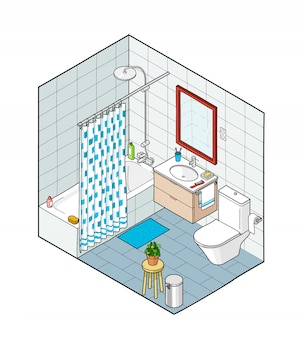 Isometrische darstellung des badezimmers. handgezeichnete innenansicht.