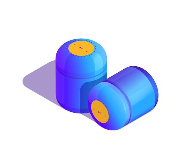 Isometrische darstellung des blau-violetten smart-lautsprechers zu hause oder im büro
