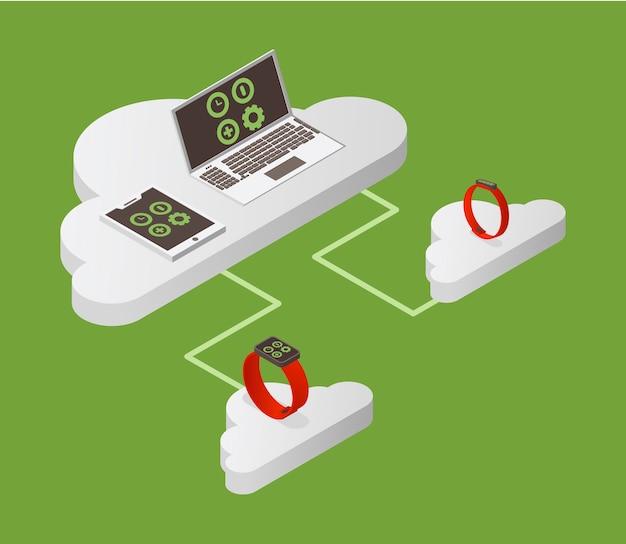Isometrische darstellung des cloud computing. internet-sicherheit, datenschutzkonzept.