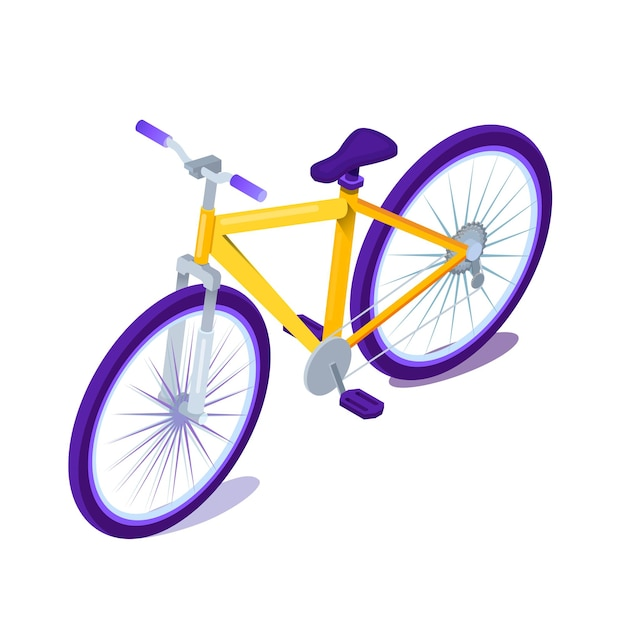Isometrische darstellung des fahrrads.