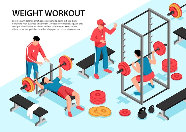 Isometrische darstellung des fitnesssports mit bearbeitbarem text und gymnastikgeräten
