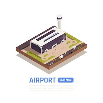 Isometrische darstellung des flughafens mit straßen- und terminalgebäude