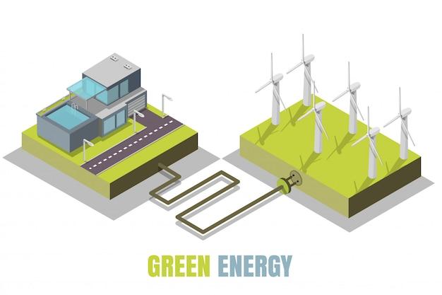 Isometrische darstellung des konzepts der grünen energie