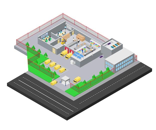 Isometrische darstellung des lieferauftrags mit gabelstapler und lkw