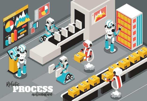 Isometrische darstellung des roboterprozesses mit symbolen für automatisierung und zuverlässigkeit