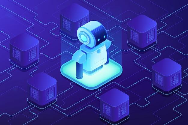 Isometrische darstellung des robotik-netzwerkkonzepts.