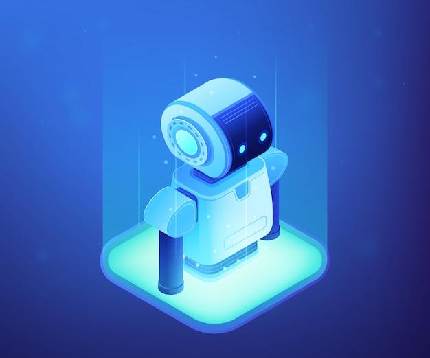 Isometrische darstellung des robotik-technologiekonzepts.