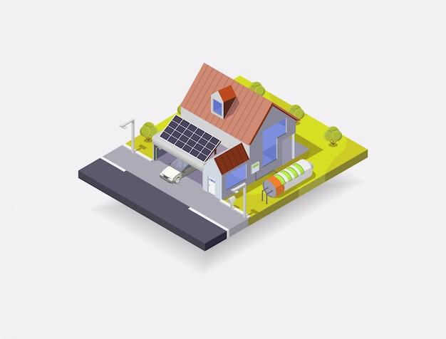 Isometrische darstellung des solarhauses, haus mit batterie und sonnenkollektoren