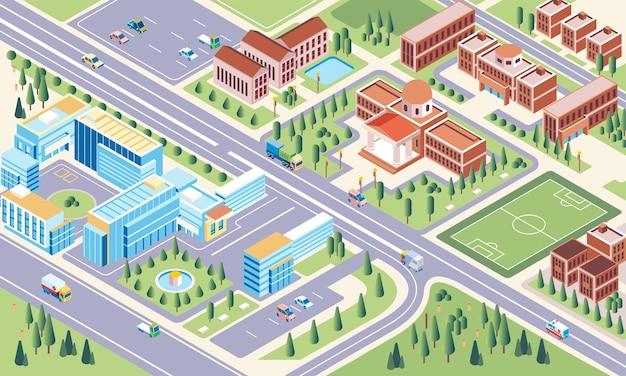 Isometrische darstellung des umgebungskomplexes der campusuniversität und des campusgartens als grünfläche