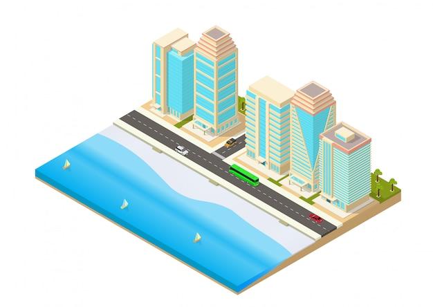 Isometrische darstellung einer stadt neben dem meer
