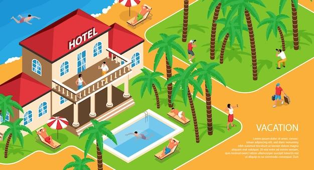 Isometrische darstellung eines hotelgebäudes mit entspannenden menschen in der nähe