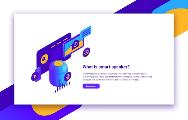 Isometrische darstellung eines intelligenten lautsprechers oder eines digitalen sprachassistenten für steuerungswebsites, mobile anwendungen und heimautomation, infografik mit beschreibungstext