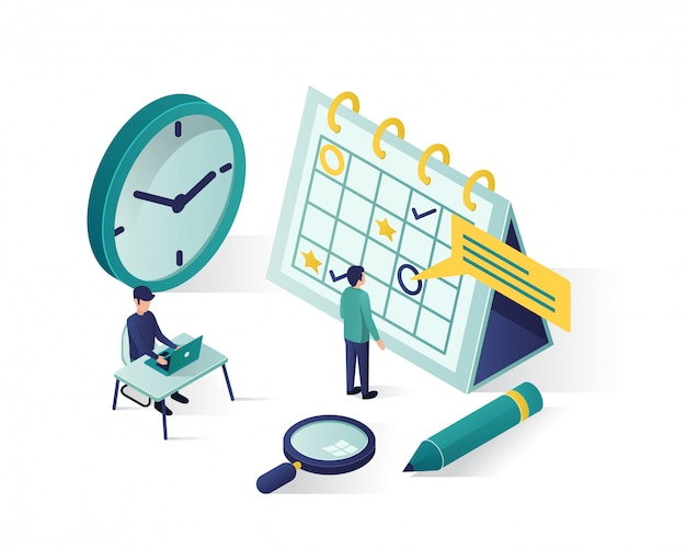 Isometrische darstellung. isometrische personen machen einen zeitplan im kalender.