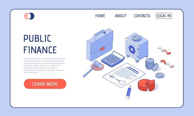 Isometrische darstellung. taschenrechner mit diagrammen, safe und aktentasche und geld